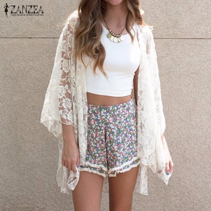 New 2019 Summer Kimono Cardigan Beach Cover-Ups Blusas Women  Embroidery Tops Blouse Blouses Sexy Lace Plus Size Shirt Tops