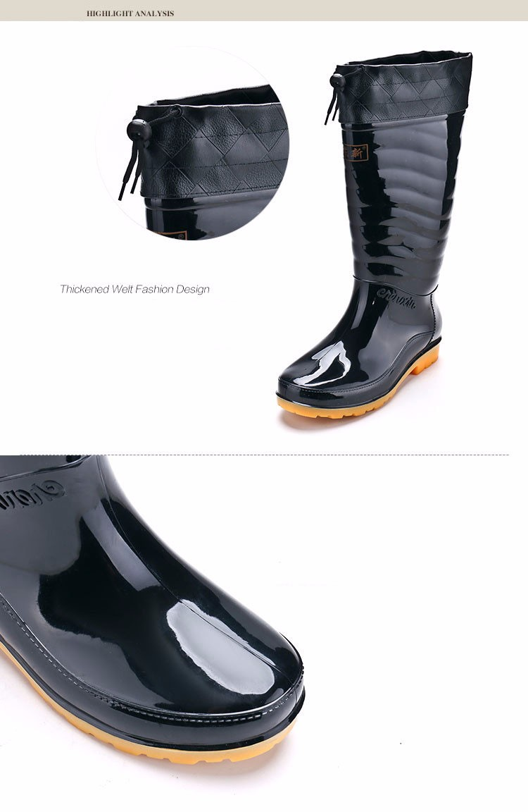 Hellozebra Men Fashion Rain Boots All Seasons Black Chains Waterproof  Welly Plaid Knee-High Rainboots 2016 New Fashion Design (10)