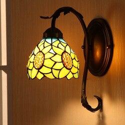 Europejski wiejski ciepły słonecznik kinkiet lampa lustrzana lampka nocna do sypialni alejek schody kinkiet