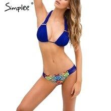 Simplee Сексуальные плетение из двух частей бикини набор Неприкрытая выдалбливают купальники женщины Летний пляж купальники с низкой талией
