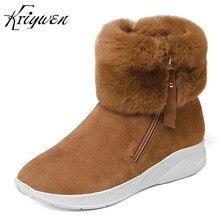 Kriywen 2018 Inverno New Arrivals Mulher Cunhas Saltos Med Botas de Neve das Mulheres Botas Curtas Tornozelo Zapatos Mujer botas feminina sapatos