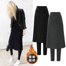 Damska oraz aksamitna gruby ołówek spodnie na co dzień stałe wysokiej talii stałe fałszywe dwa kawałki Legging spódnica M-5XL kobiet Plus rozmiar spodnie
