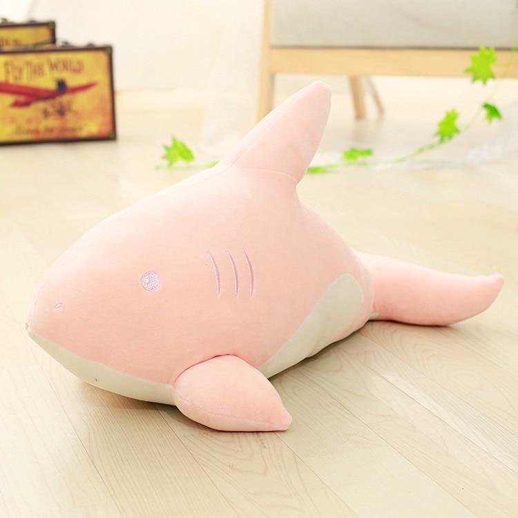 Gros jouet créatif requin en peluche belle douce rose requin oreiller poupée cadeau environ 95 cm