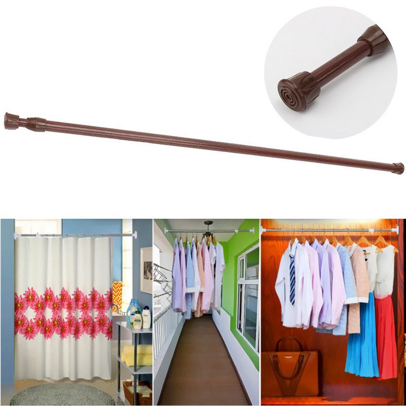 60-110cm Adjustable Retractable Bathroom Window Shower Curtain Hanging Rail  Rod Spring Tension Pole White/Pink/Log 3Colors Hot - Decorative Shower Curtain Rod Promotion-Shop For Promotional