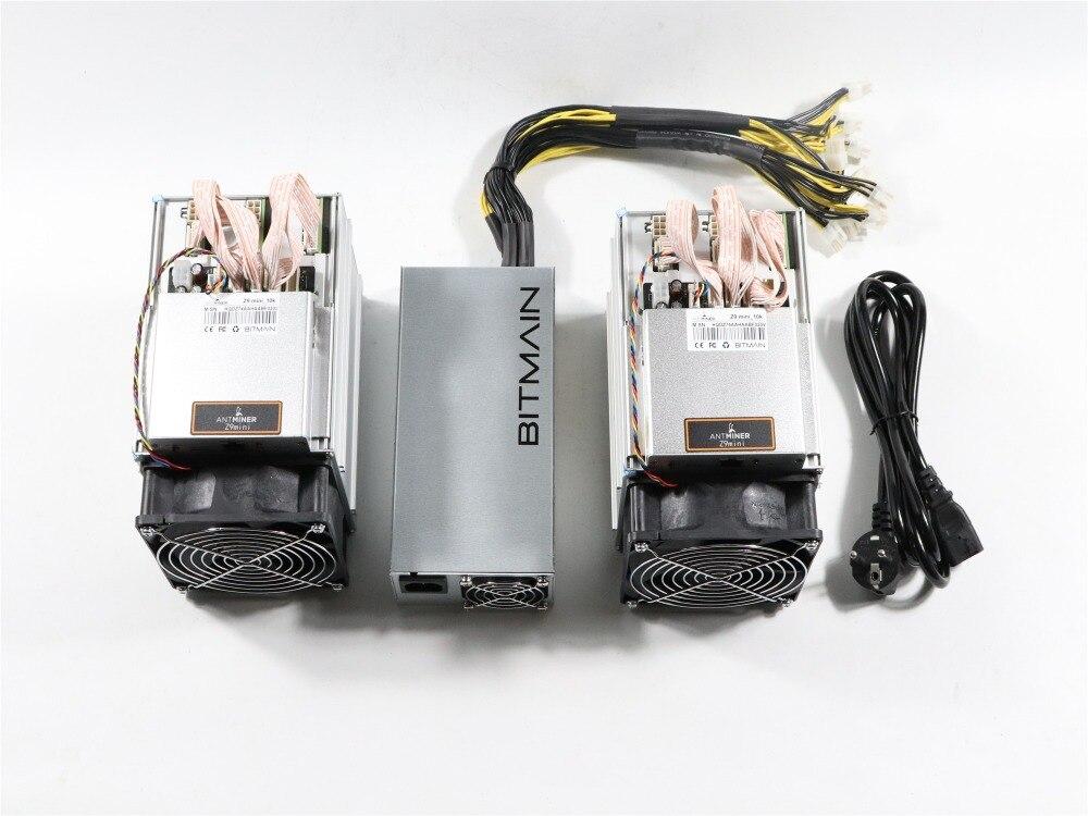 En stock 2 piezas nuevo ZCASH minero Antminer Z9 Mini 10 k Sol/s 300 W con 1 pc bitmain APW3 1600 W PSU buena ganancia mejor que A9 S9