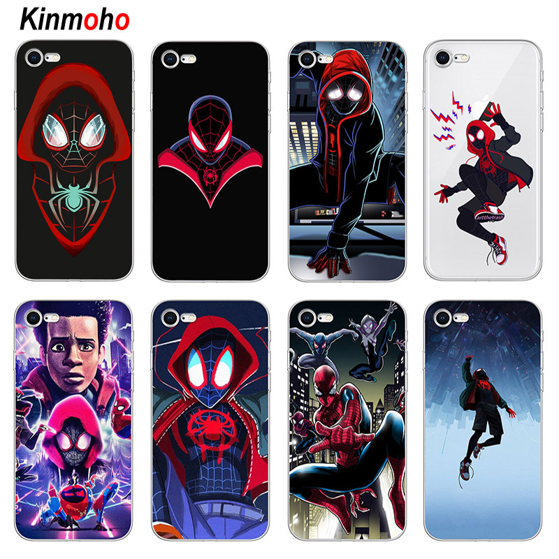 Marvel Spider Man Into the Spider Verse Soft Silicone Phone Cases Cover For iPhone 7 6 6S 8 Plus X XS Max XR 5S SE 5 Coque Funda 360 degrees