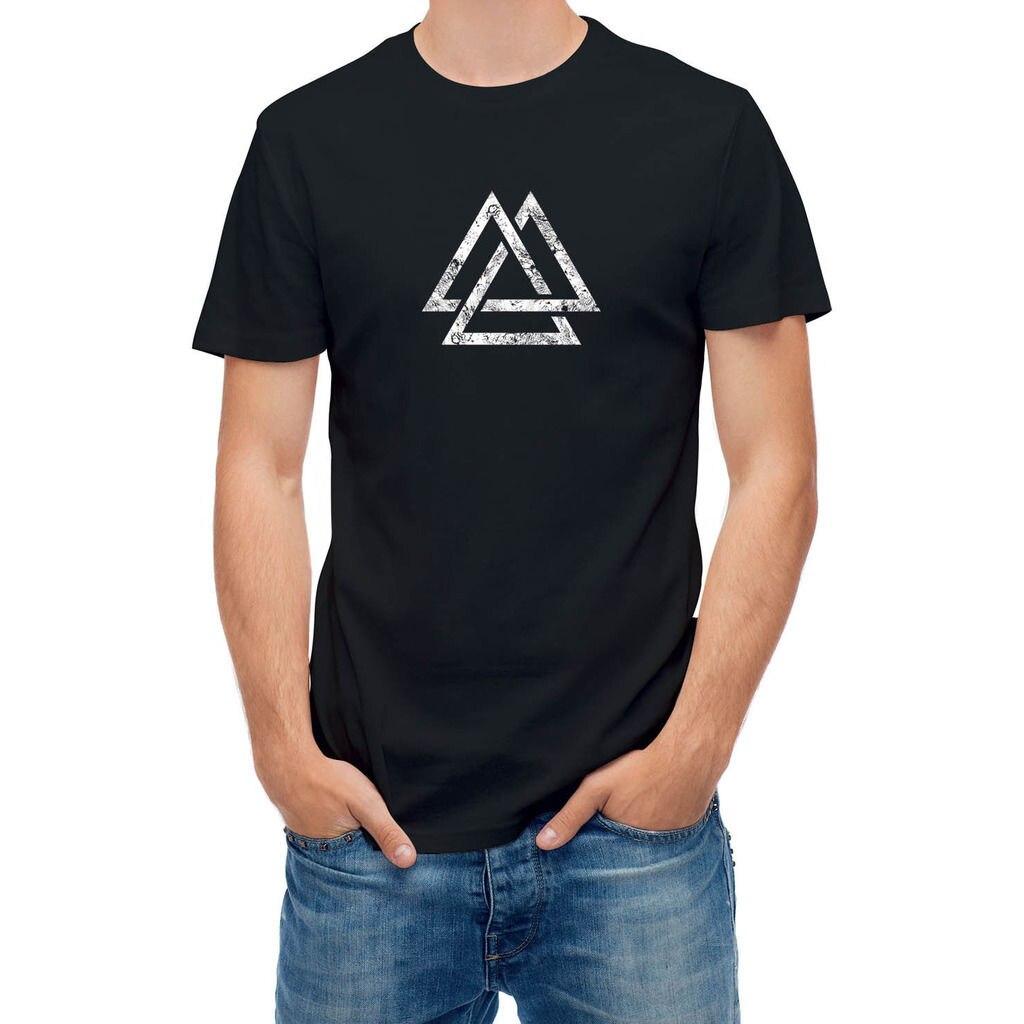 2017 Newest Popular Three Interlocking Triangles Symbol Printed s Tee Shirts O-Neck Short Sleeve Tee