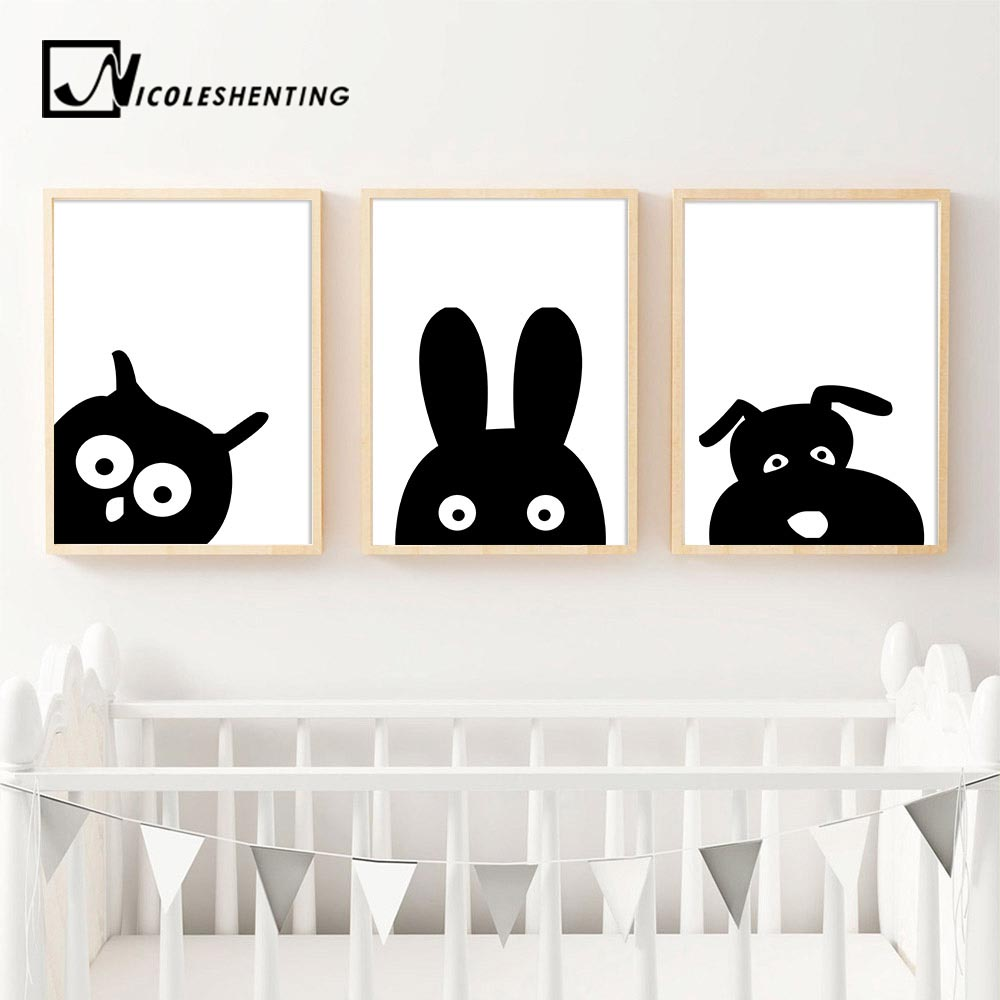 Woodland Animal Owl Hippo Cartoon Wall Art Canvas Poster Nursery Print Painting Wall Picture Nordic Kids Bedroom Decoration