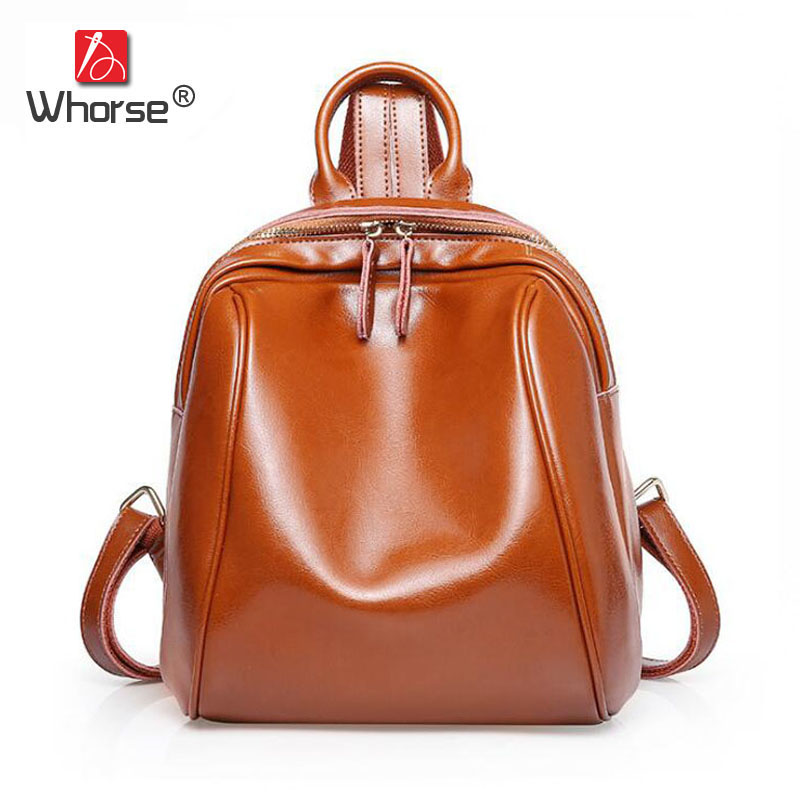 [WHORSE] Famous Brand Vintage Genuine Leather Backpack Women Cowhide Backpacks Back Pack High Quality School Travel Bags W08700