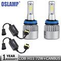 Oslamp 2PCS COB H11 LED Car Headlight Bulb 72W 6500K 8000lm Led Auto Headlamp Fog Light with Canbus Wiring Adapter DC12v 24v