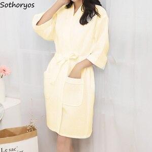 Image 3 - גלימות נשים כותנה מזדמן חלוק רחצה חגורת אלגנטי אמבטיה ספא Robe מוצק קימונו יומי גבירותיי הלבשת לנשימה חלוק