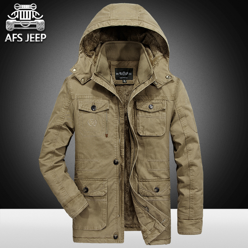 Winter Snow Cold Men Jackets and Coats 2017 Parkas Thick Warm Windbreaker Long Style Brand AFS Jeep 100% Cotton Pockets Military
