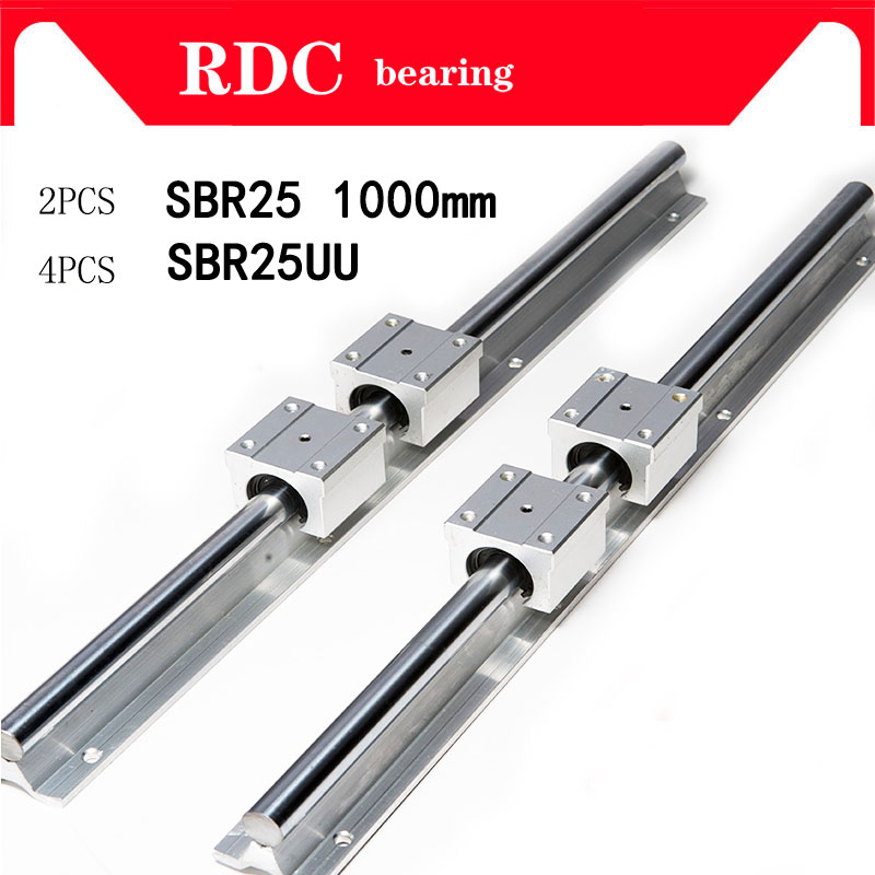 Free shipping 2 pcs SBR25 1000mm linear bearing supported rails+4 pcs SBR25UU bearing blocks sbr25 length 1000mm for CNC parts 2 linear bearing rail sets sbr25 rails 4 sbr25uu blocks