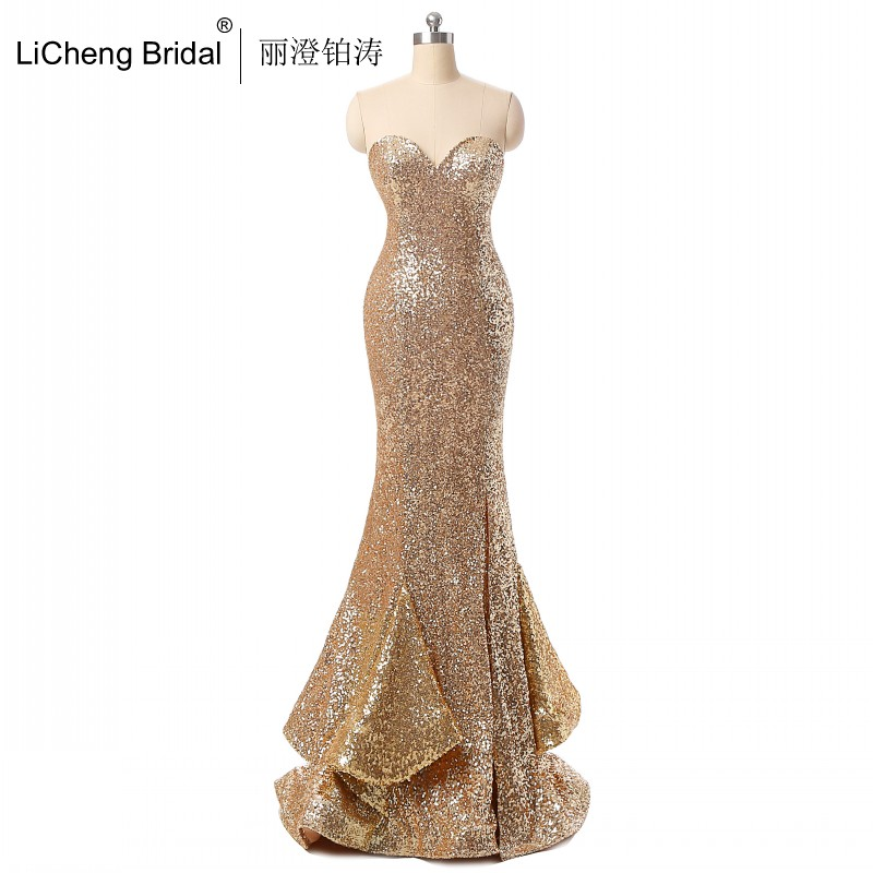 Hot 2016 Gold Mermaid Prom Dresses Sequined Ruffles