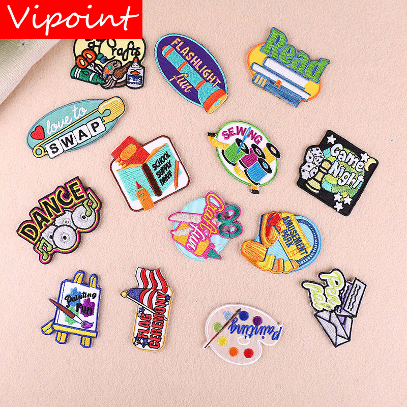 VIPOINT embroidery monkey disk books patches letter patches badges applique patches for clothing YX 286 in Patches from Home Garden