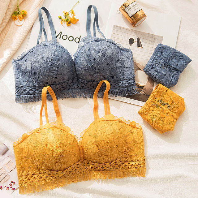 f92c0ad29 Roseheart Women Fashion Blue Yellow Sexy Lingerie Wireless Lace Panties  Padded Bras Push Up Bra Sets Underwear A B 36 38 Tassel-in Bra   Brief Sets  from ...