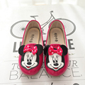 Moda infantil minnie mouse niñas de cuero plana shoes princesa arco zapatos de un solo shoes 2017 niños del otoño del resorte de la pu dancing shoes 21-30