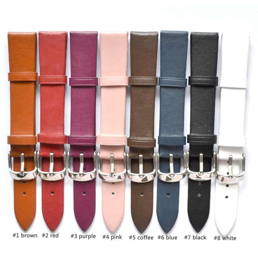 1PCS 12MM 14MM 16MM 18MM 20MM 22MM smooth grain genuine leather (cow split) watch band watch straps men and women straps WS0119