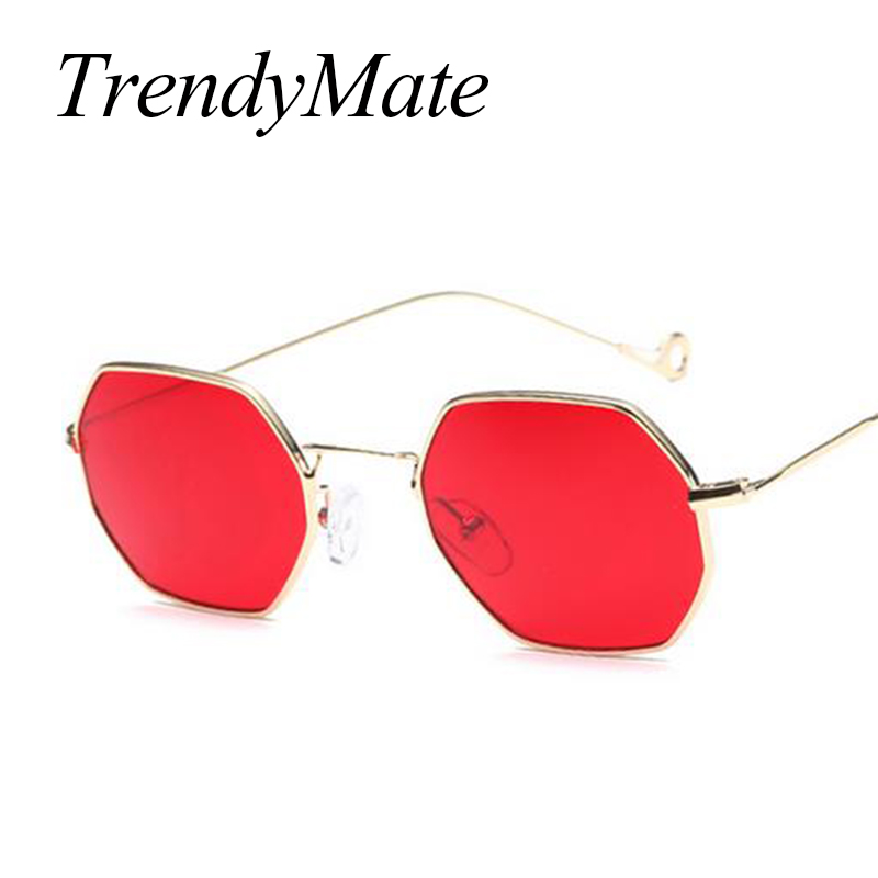 Hexagon Metal Frame Trends Women Sunglasses Small Frame Sun Glasses Brand Designer Men Vintage Polygon Clear Lens Sunglass 371M