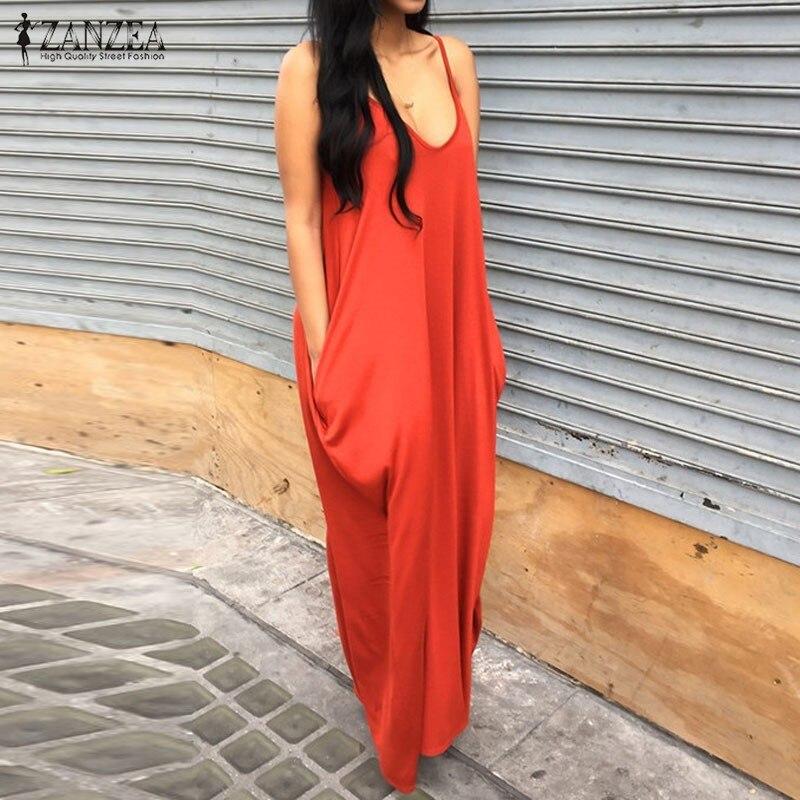 2016 ZANZEA Брендовое летнее платье womencasual свободные длинные макси Платья для вечеринок пикантные Спагетти ремень спинки Vestidos плюс Размеры