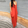 2016 Zanzea Brand Summer Dress WomenCasual Loose Long Maxi Party Dresses Sexy Spaghetti Strap Backless Vestidos Plus Size