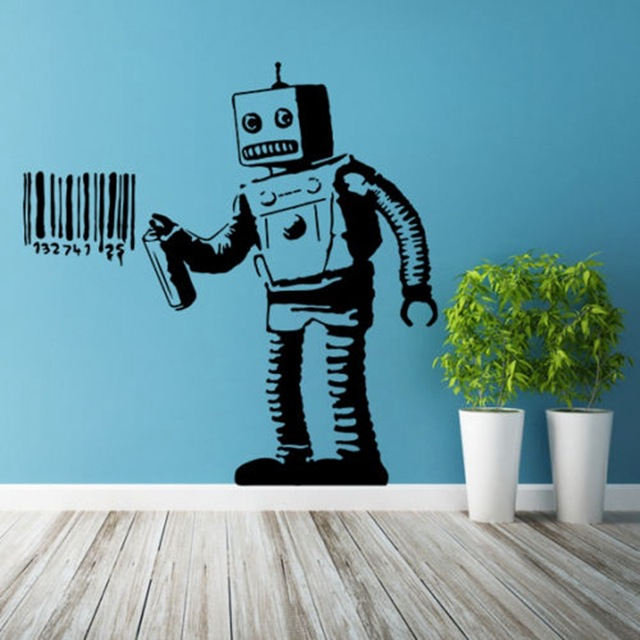 zn banksy vinyl wall decal robot graffiti wall sticker art home