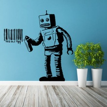 ZN Banksy Vinyl Wall Decal Robot Graffiti Wall sticker Art Home Living room bedroom Decorative murals