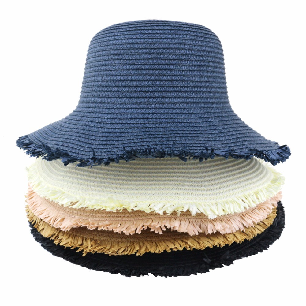 Womens Sun Hat Foldable Straw Hat UPF 50 Protection Anti-UV For Fashion Summer Beach Hat 6 Colours