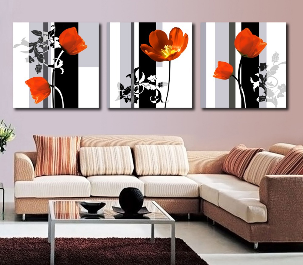 contemporary flower art promotionshop for promotional  - modern art high quality  panel flower painting contemporary floral canvaspainting paint by number for living room wall picture