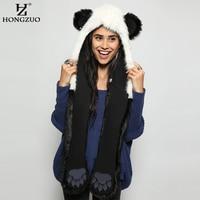 HONGZUO 2017 Moda Inverno Quente Panda Animal Chapéu De Pele Do Falso cachecol Conjuntos de Luvas Luvas de Orelhas e Patas Cap Xaile do Lenço PC187