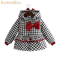 2016 Princess Girls Winter Coats For Kids Cotton Filling Thicken Jackets For Girls Bow Hooded Baby Plaid Coats Kid Warm Jackets