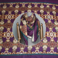 Pearlsilk Purple Abstract Printed Kerchief 100%wool Garment Materials Winter scarf DIY clothes fabrics Freeshipping
