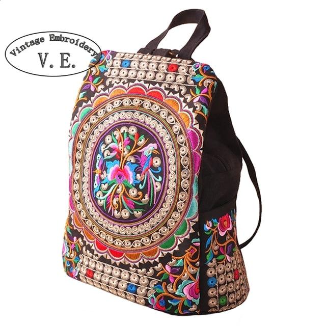 Mochila feminina de lona étnica bordada, mochila feminina feita à mão para viagem com flor bordada