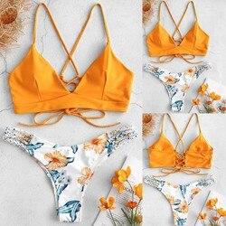 Женский купальник, бикини, 2019, mujer W, женское бикини, с цветком, два предмета, купальник, купальный костюм, пляжная одежда, 25