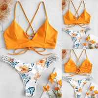 Maillot de bain femmes bikinis 2019 mujer WWomen Bikini coupe fleur deux pièces maillot de bain Pushups maillots de bain maillots de bain 25