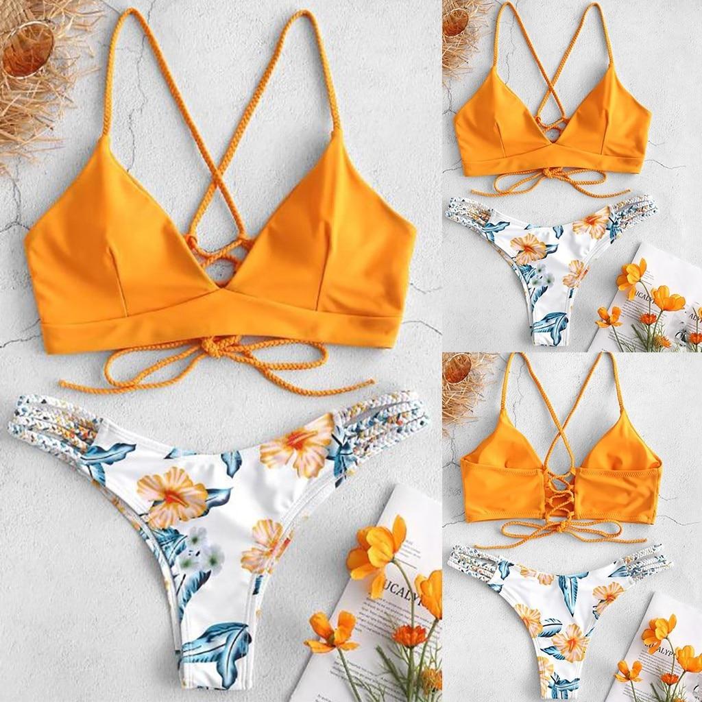 0931483f1f74 Traje de baño mujer bikinis 2019 mujer WWomen Bikini corte flor dos piezas  traje de baño push ...
