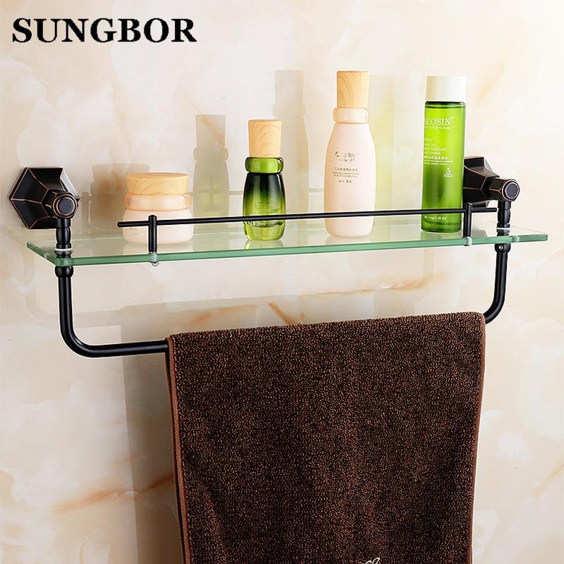 Europe style Golden glass shelf bathroom dress shelf holder golden ...