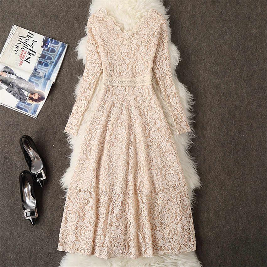 2019 automne robe femmes à manches longues dentelle robe grande taille M-3XL robe élégante dame longue col en v robe de soirée robes
