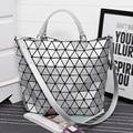 RHYME Simple Style Ladies Diamond Woman Shoulder Lattice Handbag Shopping Bag Foldable Bag