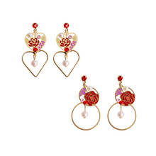 SANSUMMER 2019 New Style Fashionable Exquisite Geometric Rose Heart Shape Circular Pearl Earrings Cute Womens 6516