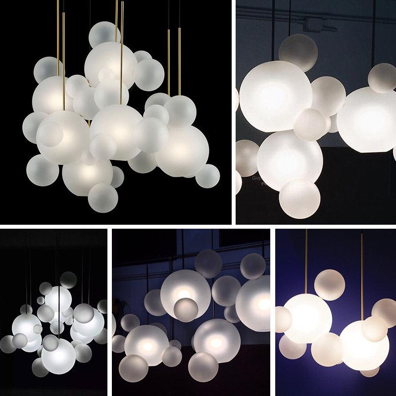 Postmodern Creative Pendant Lights Foyer Frosted Milky White Glass Ball Bubble Droplight Hotel Restaurant Shop Home Light in Pendant Lights from Lights Lighting