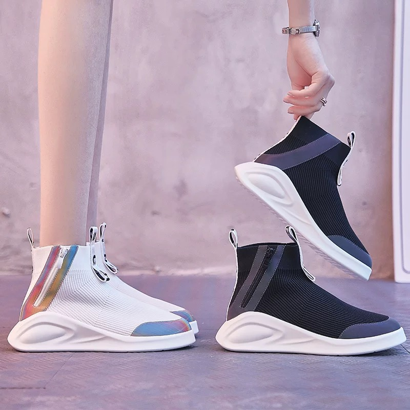 Dumoo แบรนด์ 2019 ฤดูใบไม้ร่วงรองเท้าผู้หญิงรองเท้าผ้าใบรองเท้าส้น 3 ซม. Lady รองเท้าผ้าใบสีขาวรองเท้าตะกร้า Femme Zapatillas mujer-ใน รองเท้ายางวัลคาไนซ์สำหรับสตรี จาก รองเท้า บน   1