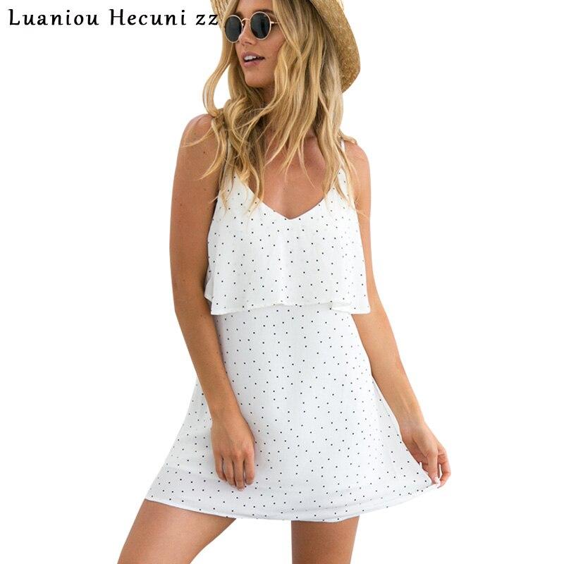 Chu Ni Chiffon Dot Ruffle Short Dress Casual Summer Backless White Dress Robe Women Vintage Soft Beach Dress Vestidos C0890