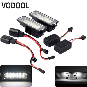 VODOOL 2Pcs 12V LED Number License Plate Light Lamps Car License Plate Lights Exterior Accessories for VW GOLF 4 5 6 7 Polo 6R(China)