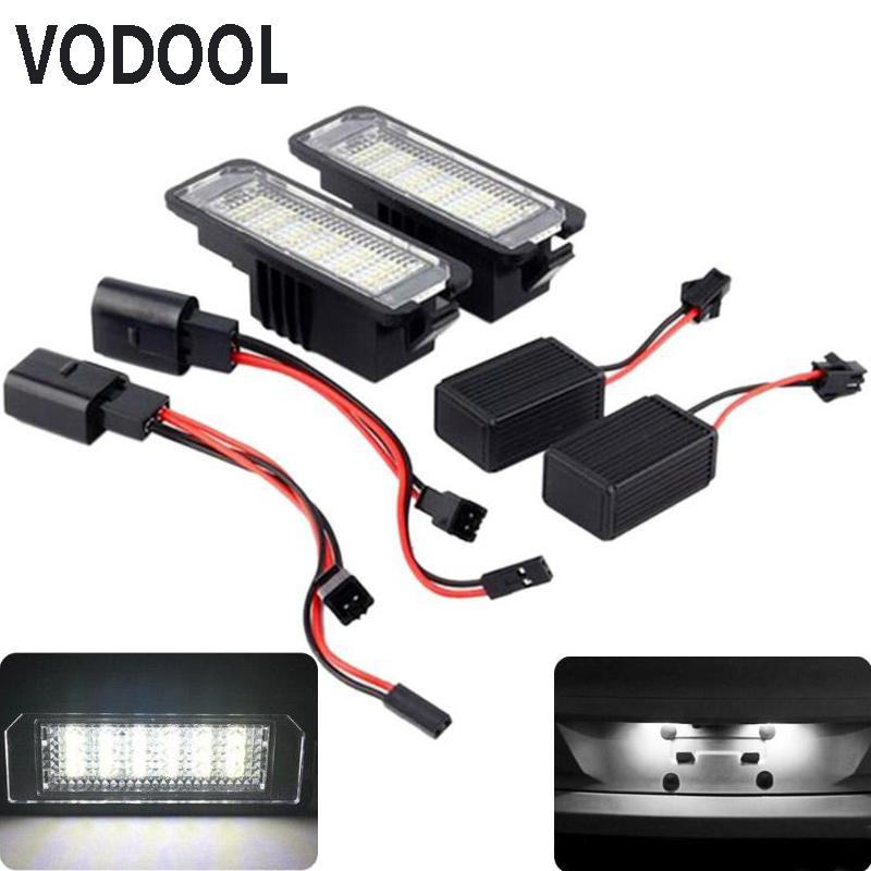 VODOOL 2Pcs 12V LED Number License Plate Light Lamps For VW GOLF 4 5 6 7 Polo 6R Car License Plate Lights Exterior Accessories