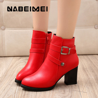 High Boots Woman Shoes Designer Sexy Red Wedges Pointed Toe Ankle Boots Autumn New Style Buckle
