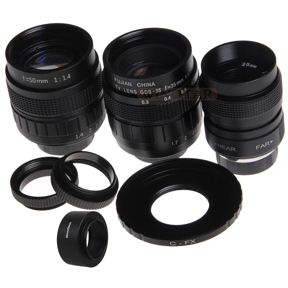 3in1 CCTV 25mm f1.4 Lens/35mm f1.7 Lens/50mm f1.4 Lens Mount Ring Kit for Fuji X-A2 X-A1 X-T1 X-T2 X-T10 X-E1 X-E2 X-Pro1 X-Pro2 линза для маски мото вело oakley x squared repl lens kit slate iridium
