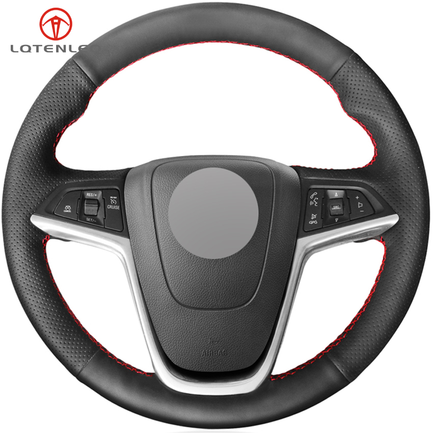LQTENLEO Black Genuine Leather Car Steering Wheel Cover For Buick Excelle XT GT 2010 2014 Opel