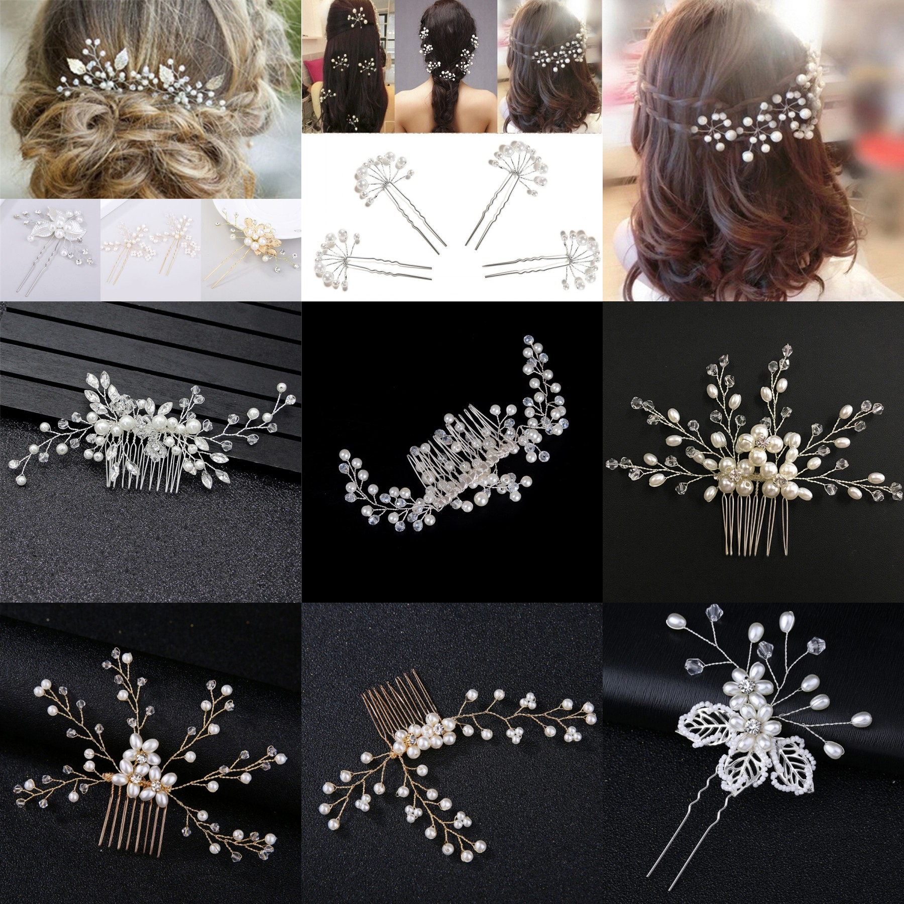 Bridesmaid Clips Pins Wedding Pearl Flower Crystal Hair Pin Hair Clip Tiaras Crown Headband Hair Comb Clips Hair Accessories