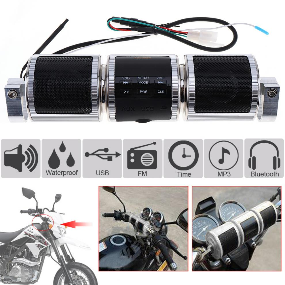 <font><b>Waterproof</b></font> Aluminum Motorcycle <font><b>Bluetooth</b></font> MP3 Music Player with FM Radio and MP3 / USB / Earphone Interfaces for Motorcycle